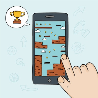 携帯電話のビデオゲームのコンセプト