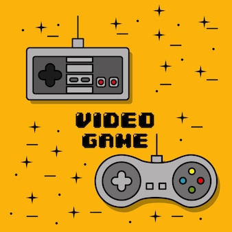 Video game control different buttons yellow background