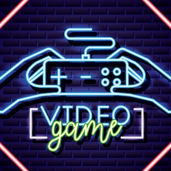 Video game control on neon style on brick wall