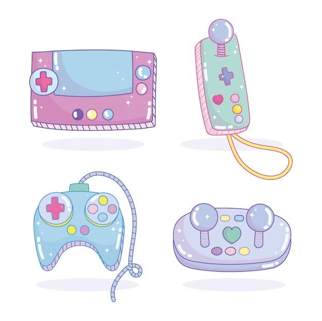 ビデオゲームコントローラージョイスティックエンターテイメントガジェットデバイス電子漫画セット