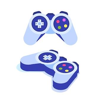 비디오 게임 컨트롤러 또는 게임 패드 아이소 메트릭 아이콘.
