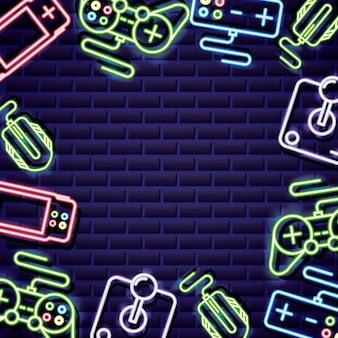Video game controls frame on neon style on brick wall