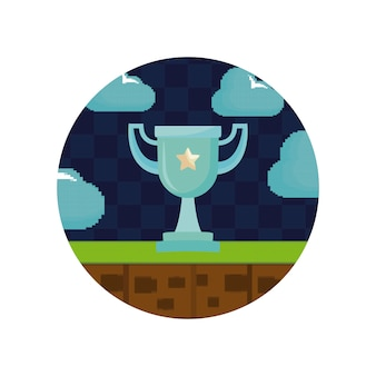 Video game controls and trophy pixelate icon