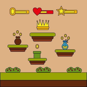 Video game crown bag money potion coins level