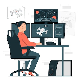 Illustrazione di concetto di sviluppatore di videogiochi