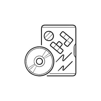 Dvd видеоигры с иконой каракули коробки рисованной наброски. компьютерная игра dvd, концепция игровой технологии