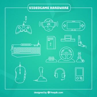 Elementi di gioco del video su uno sfondo verde