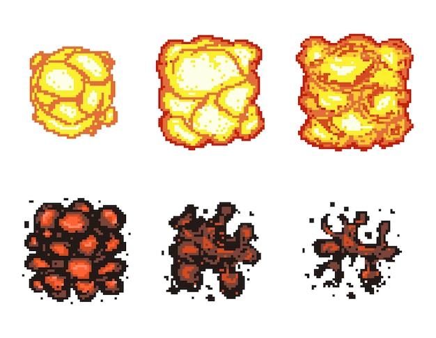 Анимация взрыва видеоигры в пиксельной графике. кадры анимации взрыва.