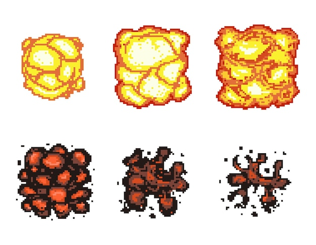 Video game explosion animation in pixel art. explosion animation frames.