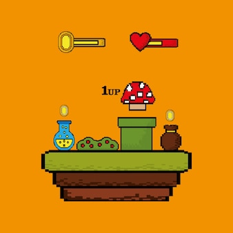 Video game flask potion bag money and mushroom