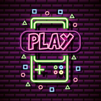 Video game graphic resources brick wall, neon style