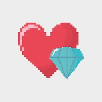 Video game heart and diamond icon