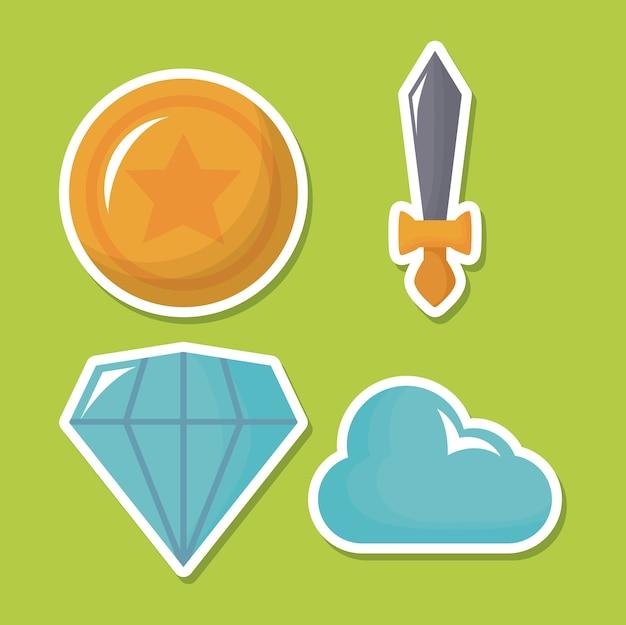 Video game icon set