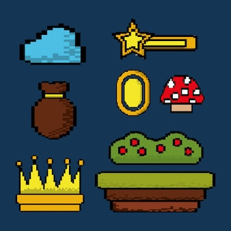 Video game icons set entertainment play