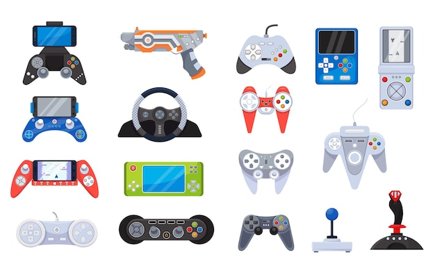 Иконки джойстика для видеоигр и гаджеты для геймеров Premium векторы