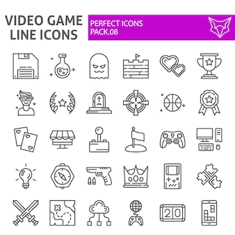 Video game line icon set, play collection