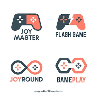 Video game logo collection with flat design