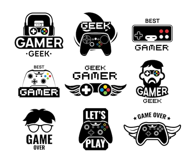 Video game logo set. emblems with gamer, vintage and modern joystick console controller, headset. isolated vector illustration for online game label template