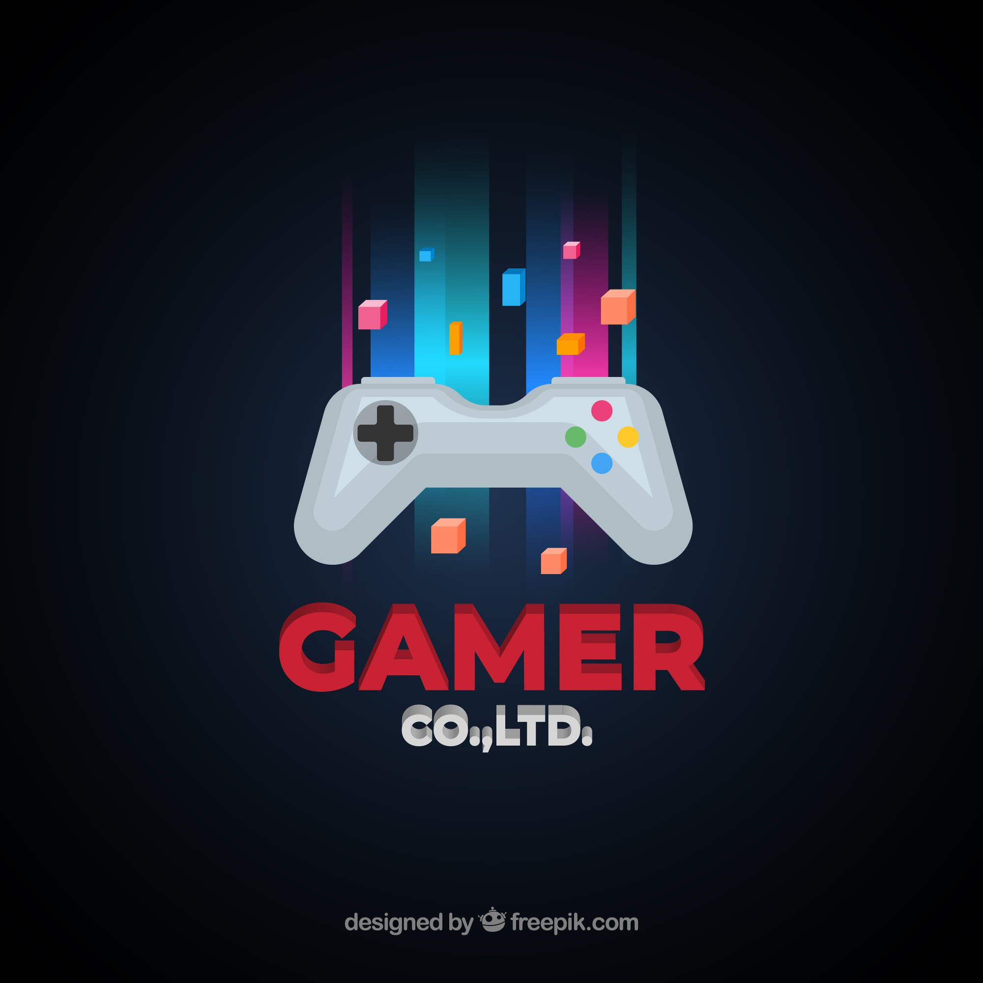 Video game logo template with joystick