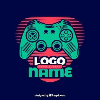 Шаблон логотипа видеоигры с ретро-стилем