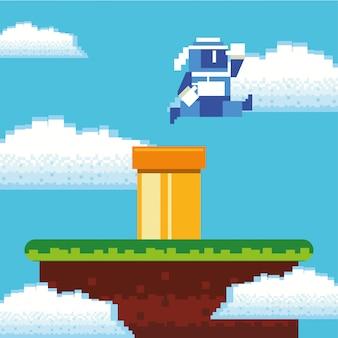 Video game ninja warrior in pixelated scene