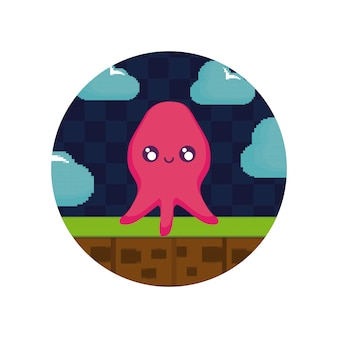 Video game pixelate creature icon