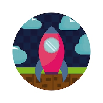 Video game pixelated rocket icon