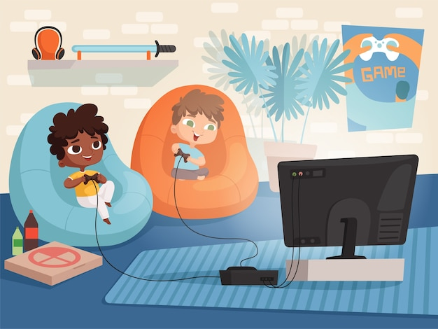 ビデオゲームルーム。 2つのゲームパッドコントローラーと子供の家の背景のテレビインテリアのコンソールゲームで遊んでいるソファの子供たち。イラストビデオゲーム、男の子と女の子のゲームコンソール