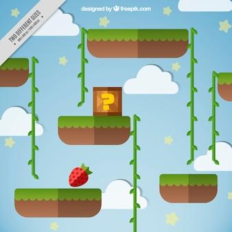 Scena videogioco con una fragola e una scatola misteriosa
