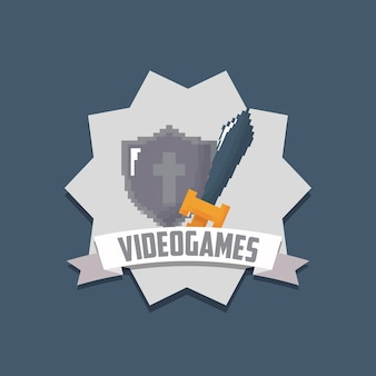 Video game shield and sword icon over gray background