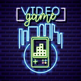 Video game and skyline with video game neon style