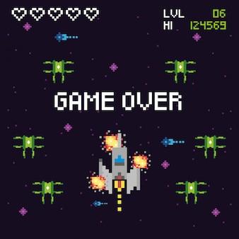 비디오 게임 공간 픽셀 화 된 장면 및 게임 오버 메시지