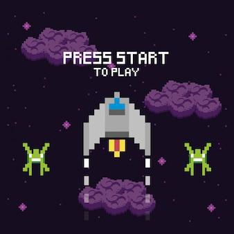 비디오 게임 공간 픽셀 화 된 장면 및 프레스 스타 메시지