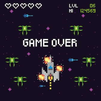 Video game space pixelated scene and game over message