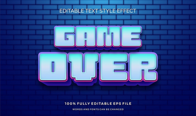 Video game text style effect. editable font