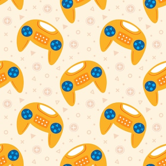 Video game theme. cute yellow joysticks flying . flat hand drawn   seamless pattern