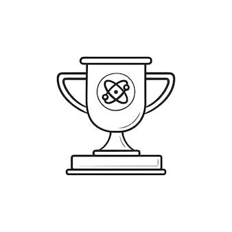 비디오 게임 트로피 컵 손으로 그린 개요 낙서 아이콘. 챔피언 상, 경쟁 상, 우승자 컵 개념. 인쇄, 웹, 모바일 및 흰색 배경에 인포 그래픽에 대한 벡터 스케치 그림.