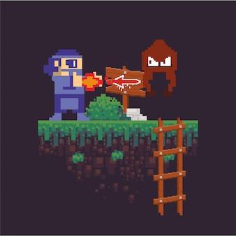 ビデオゲームの戦士がピクセル化されたシーンで撮影