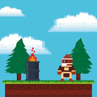 Video game warrior with flame barrel in pixelated scene