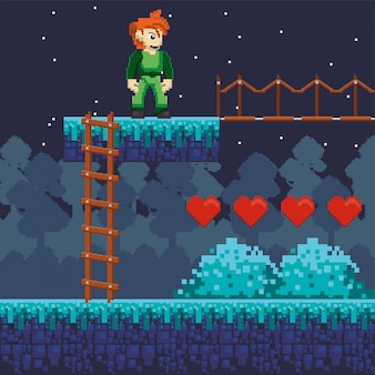 Video game warrior with hearts in pixelated scene