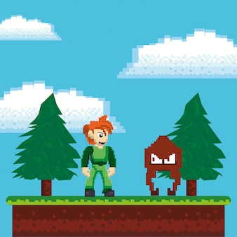 Video game warriors in pixelated scene