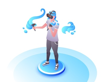 Video gamer illustration of girl or woman in VR glasses with joystick controllers playing.