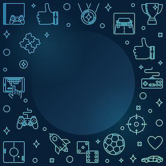 Video games colful linear frame  gamer  illustration