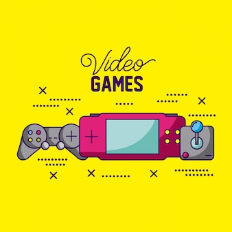 Video games design different consoles and controls illustration
