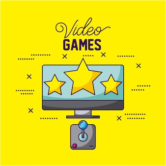 Video games design a tv with three stars and a control illustration