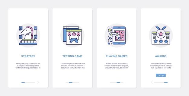 ビデオゲームエンターテインメントラインテクノロジーuiuxオンボーディングモバイルアプリページ画面セット