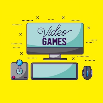 Video games, joystick, screen and mouse