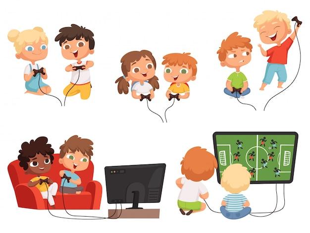 Детские видеоигры. игровые приставки детей, играющих вместе с джойстиками в контроллеры домашнего телевидения забавных персонажей