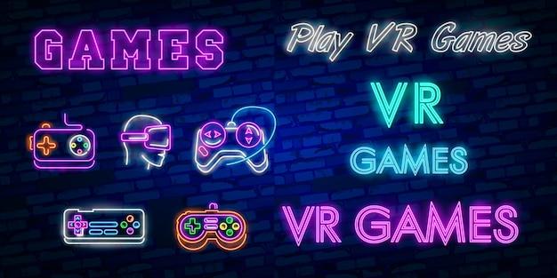 Видеоигры логотипы коллекция неоновая вывеска векторный дизайн шаблона.