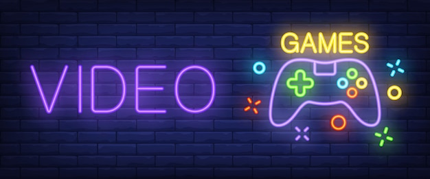 Video games neon text with controller